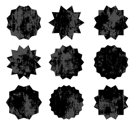 Set of black vector old starburst symbols. Vintage empty labels or stickers with texture for advertising, shop sales tags and promotions