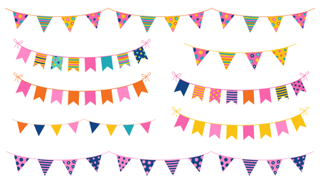 Party buntings with colorful flags with dots and stripes