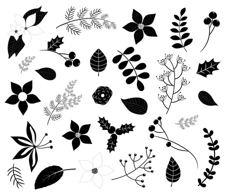 Black winter foliage silhouettes with flowers, leaves, branches and berries isolated on white