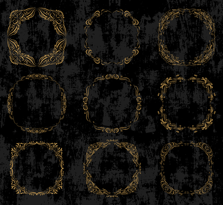 Vector set with ornate gold borders and frames in vintage calligraphic style on black chalkboard background