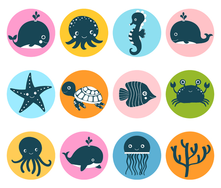 Cute vector set with sea animal icons in color circles for kids designs