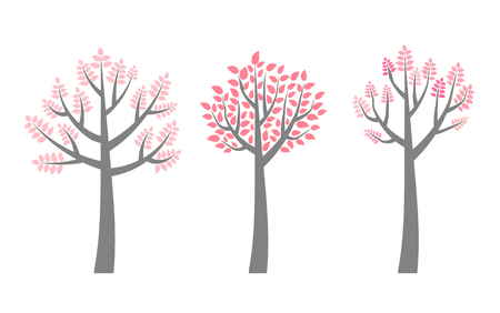 Vector trees with branches and pink leaves for invitations, brochures and flyers