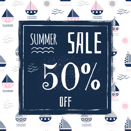 Summer Sale Banner for Advertisement and Brochures with 50% Off Offer