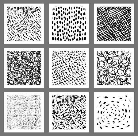 Doodle square tags, labels or greeting cards with textured lines, dots, scribbles and strokes Illustration