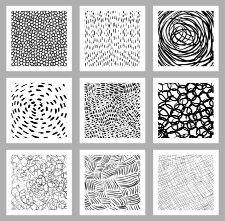 Hand drawn set with square cards, tags or backgrounds with with different abstract textures with lines, dots, scribbles and strokes Stock Illustratie