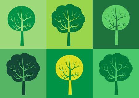 Set of tree silhouette icons - templates for organic products and packaging, symbols for ecology and environmental brochures