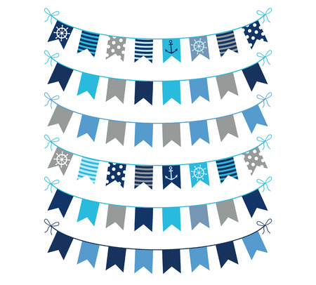 Nautical themed vector bunting garlands in blue and gray colors for greeting cards, invitations and graphic design  Stock Illustratie