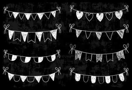 Chalkboard doodle bunting with flags, triangles and hearts for invitation and greeting cards