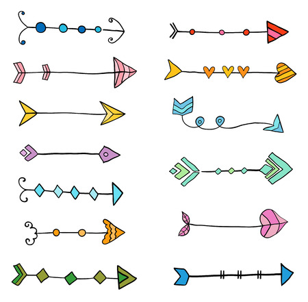 Cute vector set with creative doodle arrows, hand drawn icons for graphic design, invitations and brochures Illustration