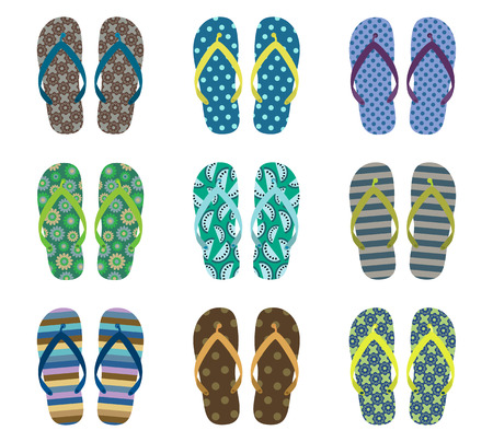 Vector set with cute summer flip flops for men for beach holiday designs Stock Illustratie