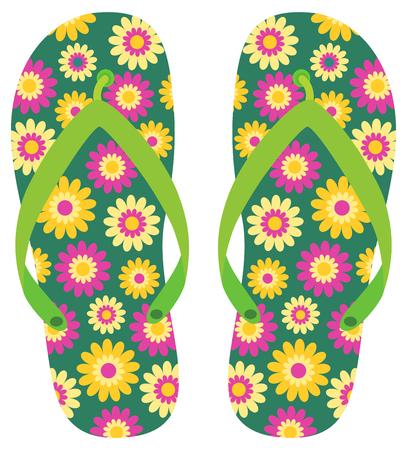 Green vector summer flip flops with cute flowers in yellow and purple