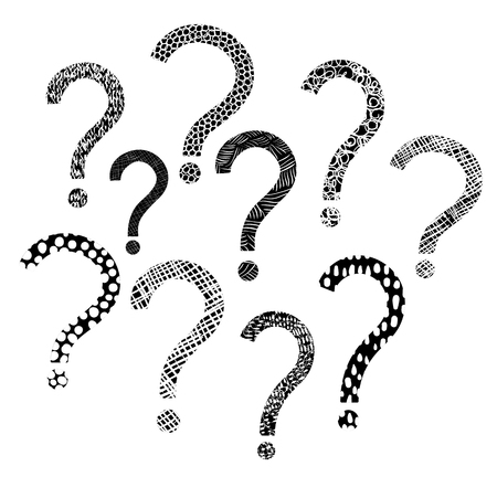 Modern vector set with question mark icons with texture in black and white Illustration