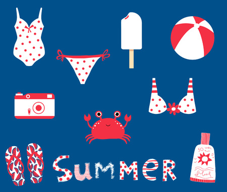 Cute summer set with vector elements for beach, ocean and travel graphic design in red and white colors on blue background