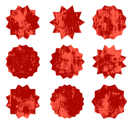 Red vector starburst symbols. Vintage labels or badges with texture for advertising and promotions
