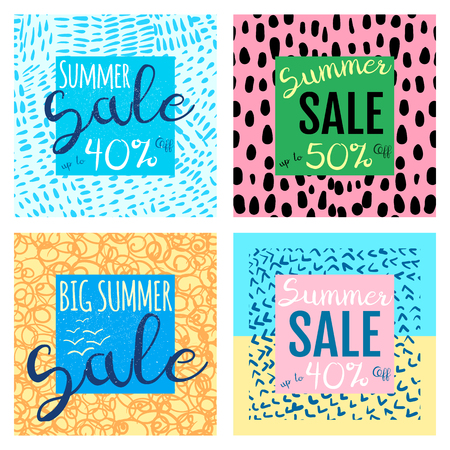 Vector summer sale banners templates for shop promotions