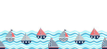 Vector seamless horizontal border with red and blue boats and waves for summer backgrounds and brochures