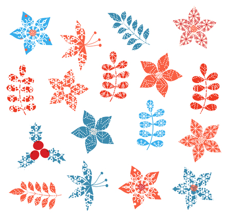 Winter and Christmas stylized decorative leaf designs with snowflake texture Stock Illustratie
