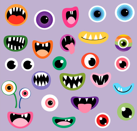 Monster mouths and eyes, fun graphic design elements