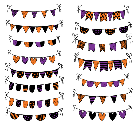 Cute doodle buntings for baby shower and birthday party invitations for Halloween Illustration