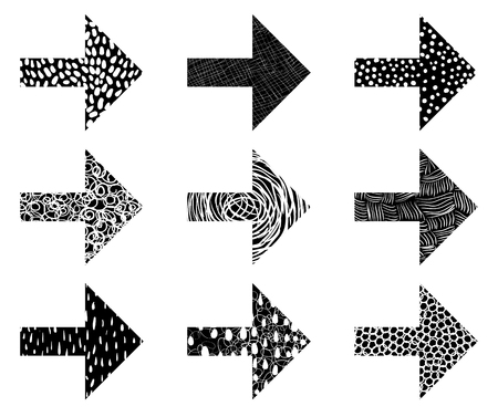 Modern vector set with arrow icons with texture in black and white Illustration