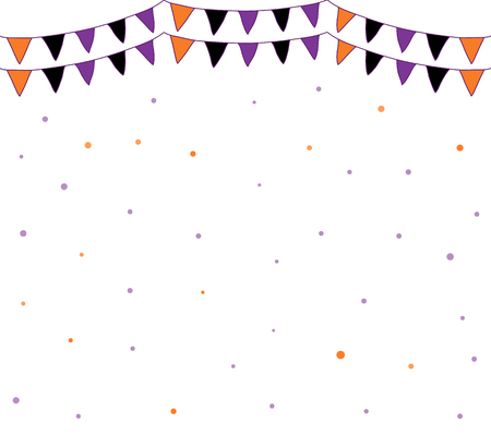 Cute vector background with party bunting flags and dots for Halloween kids designs Illustration