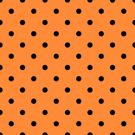 Cute Halloween orange and black polka dot seamless pattern background