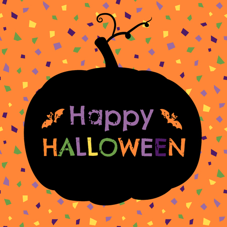 Cute vector Happy Halloween greeting card, flyer or brochure on confetti background in orange, purple, yellow and green colors