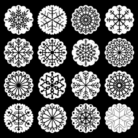 Snowflake decorative elements with scalloped edges in black and white colors for winter holiday designs. Illustration