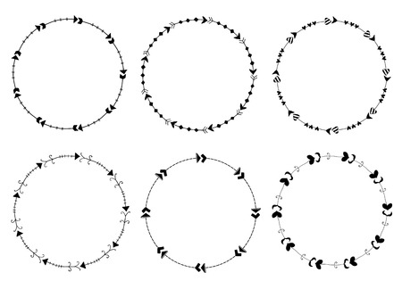 Set of round vector frames made of arrows in cute modern style for graphic design and invitations Vectores