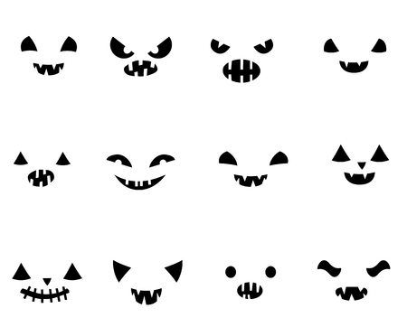 Set with carved Halloween pumpkin faces templates in black and white with different funny expressions