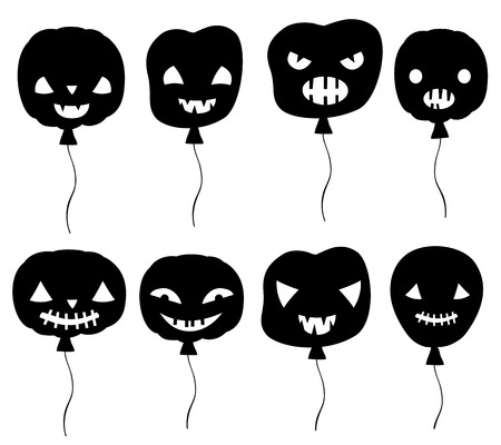 Black Halloween vector set with scary balloons with faces with different expressions