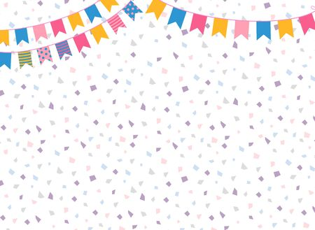 Cute and colorful vector background with party bunting flags for backdrops