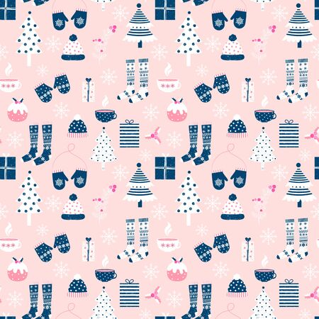 Fun vector seamless pattern with Christmas  and winter clothes in pink, white and blue