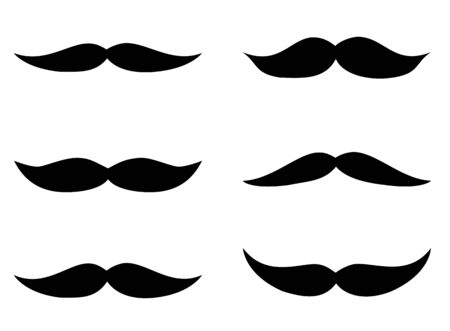 Set of simple black vector mustache silhouettes in flat style