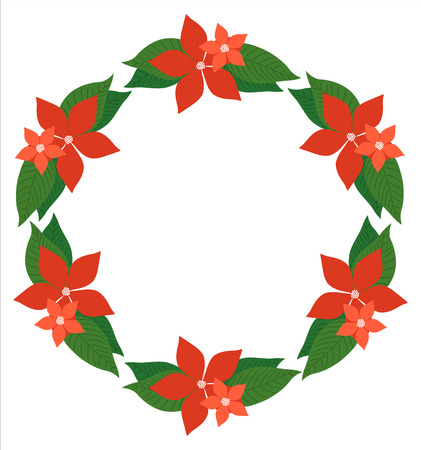 Vector wreath with poinsettia flower for Christmas greeting cards and decor