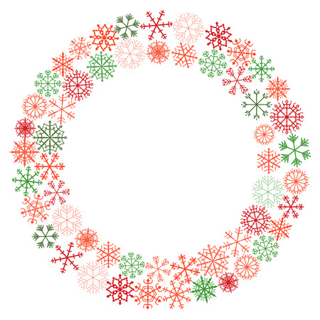 Vector winter wreath with snowflakes in red and green Christmas colors for greeting cards and decor Illustration