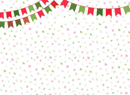 Cute vector Christmas background with party bunting flags for  winter decorations Vectores