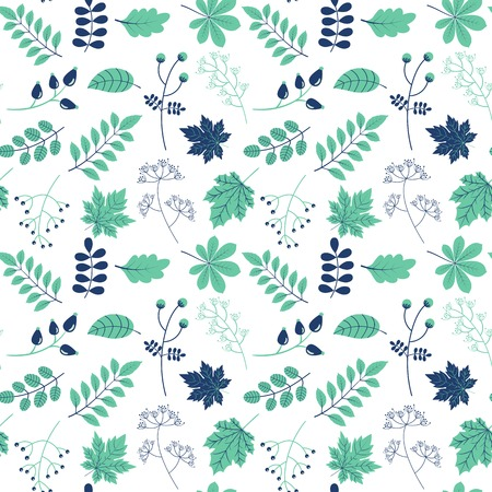 Vector seamless pattern with green and blue leaves for packaging design for natural and eco products Illustration