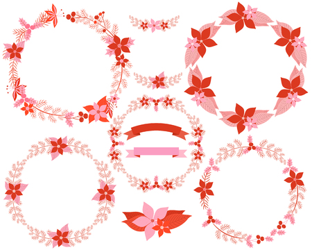 Set of beaitiful floral wreaths in red and pink colors for Christmas greeting cards and decor