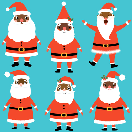 Vector set with cute and funny Santa Claus characters in flat style with dark skin for Christmas nas winter designs