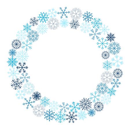Disegno della corona di fiocchi di neve di Natale vettoriale nei colori blu su sfondo bianco Vettoriali