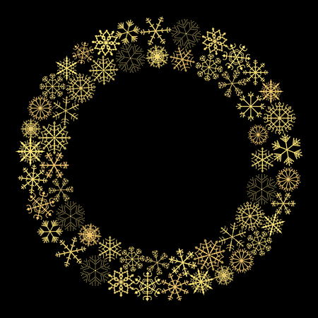 Gold Christmas vector wreathe with snowflakes for holiday greeting cards Stock Illustratie