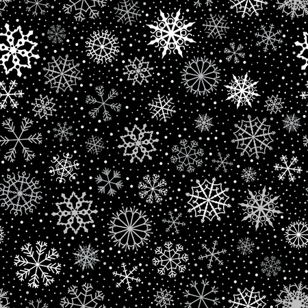 Vector seamless pattern with white and gray snowflakes on black background for winter and Christmas backgrounds and wrapping paper