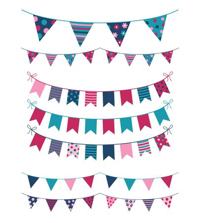 Vector buntings with colorful flags for kid birthday designs and other celebrations