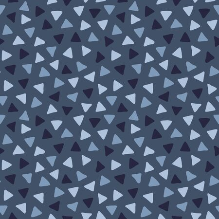 Hand drawn vector doodle seamless pattern with scattered triangles in blue colors, simple geometric background Vectores