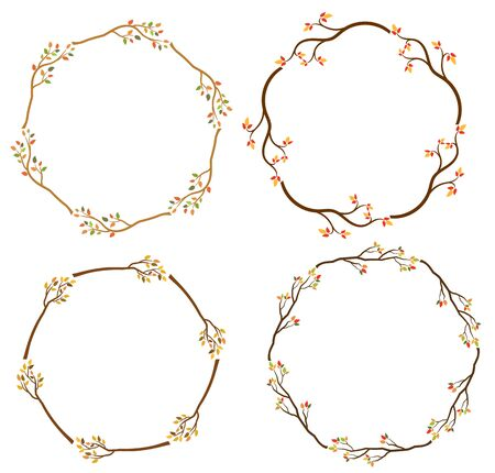 Elegant autumn wreaths with tree branches for graphic design and invitations