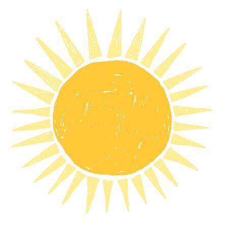 Simple vector sun drawing in flat style for summer graphic and product design Vectores