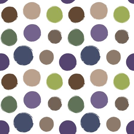 Seamless vector hand drawn pattern with big doodle polka dots in natural earth tones Vectores