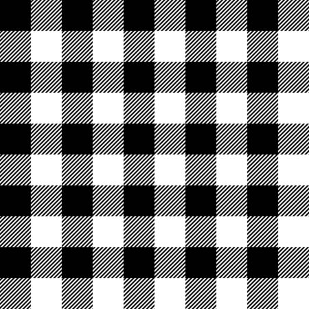 Black and white lumberjack buffalo plaid seamless vector pattern for graphic design and backgrounds