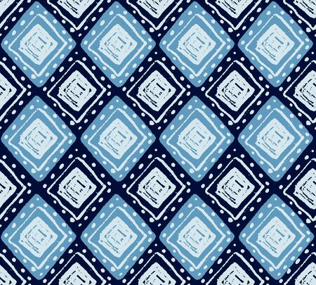Ethnic vector seamless pattern with hand drawn geometric rhombus shapes in blue colors for fashion and texyile designs Vectores